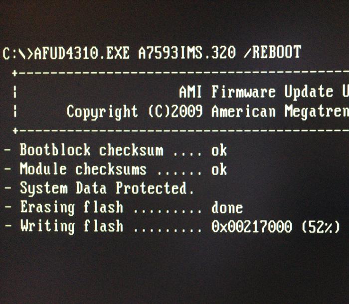 途中で止まったBIOS画面
